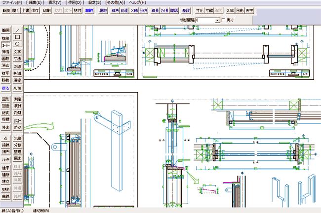 施工図を描いているCAD画面